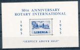 LIBERIA  1955 ROTARY S/S ERROR MISSING THE RED COLOR VF MNH SCARCE - Liberia