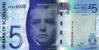 SCOTLAND 5 POUNDS P124 2007 WALTER SCOTT UNC CURRENCY MONEY - [ 3] Scotland