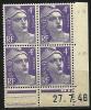 """Coins Datés  YT 718 """" Marianne De Gandon 4F. Violet Clair """" 1945-47 Neuf - Coins Datés"""