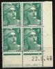 "Coins Datés  YT 807 "" Marianne De Gandon 4F. émeraude "" 1948 Neuf - Coins Datés"