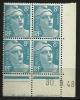 """Coins Datés  YT 810  """" Marianne De Gandon 8F Bleu Clair """" 1948 Neuf - Coins Datés"""