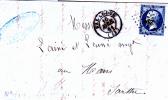 FRANCE :Napoléon III Type 1 Sur Lettre : Y&T : O :14A - 1853-1860 Napoléon III