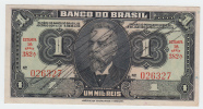 Brazil 1 Mil Reis (Cruzeiro) 1944 AXF Crispy Banknote P 131A - Brazil