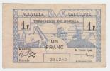 New Caledonia 1 Franc 1943 VF+ CRISP Banknote P 55a  55 A - Nouméa (New Caledonia 1873-1985)