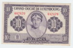 LUXEMBOURG 10 FRANCS 1944 AXF P 44 - Luxembourg