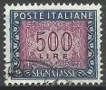 1955 Italia Repubblica Segnatasse Da Lire 500 Usato Filigrana Stelle - 6. 1946-.. Repubblica