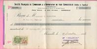 Reçu Francic Sté Française  Commission & Importation Tous Combustibles Marseille 29-11-1933 - Tp Fiscal 1,50 Fr - Vieux Papiers