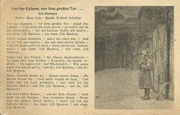 """AK Soldatenlied """"Vor Der Kaserne ... Lili Marleen"""" ~1943 #02 - Guerra 1939-45"""