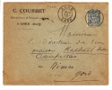 YVERT N°101 SAGE OBL TÀD CERCLE INTÉRIEUR TIRETÉ DE ARRE GARD 1894 + EN-TÊTE - Poststempel (Briefe)