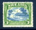 Niue 1938 George VI 3/- Blue & Yellow-green, Heavily Hinged Mint (A) - Niue