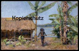 ALTE KÜNSTLER POSTKARTE PAPUA-NEUGUINEA SIGN. PETER PAUL MÜLLER Indigene Native Cpa Postcard AK Colony Colonie Kolonie - Papua-Neuguinea