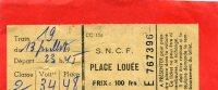 SUPPLEMENT TRAFIC INTERNATIONAL SNCF LOCATION DE PLACE ASSISE JUILLET 1960 - Altri