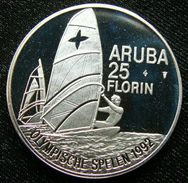 Aruba 25 Fl 1992 Sail Olympic Games Barcelona 1992 Silver Proof - [ 4] Colonies
