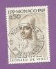 MONACO TIMBRE N° 799 OBLITERE SERIE LEONARD DE VINCI - Monaco