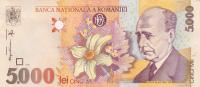Bancnote 5000 Lei 1998  Used Romania. - Rumania