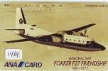Télécarte Japon * AVION (1469) FOKKER F27 FRIENDSHIP * AIRLINES * AIRPORT * AIRPLANE *  PHONECARD * FLUGZEUG - Vliegtuigen