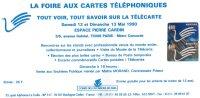 PUBLICITE FOIRE AUX CARTES TELEPHONIQUES  MAI 1990 - Télécartes