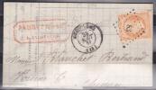 France - Lettre - N° 16 Oblitéré Losange PC 83 - Angouleme 23/08/1861 Arrivée Chinon - 1849-1876: Classic Period