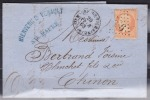 France - Lettre - N° 16 Oblitéré LosangeGC - Ste Maure De Touraine 20/02/1868 - Postmark Collection (Covers)