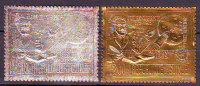 GUINEA - JILES  VERNE - MOON - APOLLO -  Gold+silb. Foil Stamp - ** MNH - 1972 - Writers