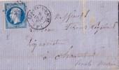 AUBE-CLAIRVAUX S AUBE DU 8 OCTOBRE 1862 N°14 BELLES MARGES OBLITERATION PC874 - LETTRE AVEC TEXTE. - 1849-1876: Classic Period