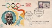 FRANCE 1088 FDC Premier Jour Baron DE COUBERTIN JO Jeux Olympiques Torche - FDC