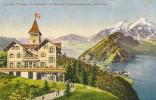 FÜRIGEN- KURHAUS MIT GÄSTE ND BLICK NACH STANSSTAD 1912 ++++ Colorierter Lichtdruck - NW Nidwalden
