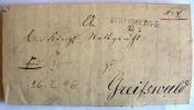 1844 STRASSBURG L 2 Schöner Siegelbrief Mit Inhalt Nach Greifswald - Deutschland