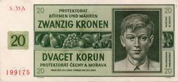 "Bohemia & Moravia 20 Korun 1944 ""F"" Banknote P-9a - Czechoslovakia"