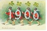 Cp/pk Bonne Année Milésime 1906 Hommes Marchant  Avec Chapeaux Gauffrée Souhaits Sincères - New Year