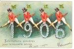 Cp/pk Bonne Année Milésime 1906 Hommes Fleurs Chapeaux Carte Gauffrée Souhaits Sincères Pour La Nouvelle Année - New Year