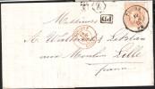 Lettre Affr. N°33 Càd PUERS/1875 + Boîte Rurale Z De CALFORT + Càd  BELGIQUE/LILLE Pour Lille - 1869-1883 Léopold II