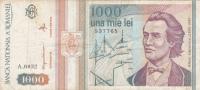 Bancnote 1000 Lei 1993 Used Romania. - Rumänien