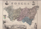 Carte Géographique Du Département Des VOSGES 88  Couleurs  Atlas Migeon 19ème - Cartes Géographiques