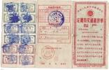 REF LANV3 - CHINE TIMBRES DE LOTERIE SUR CARTE DES ANNEES 1950 - Variétés Et Curiosités
