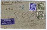 Luftpostbrief, Mit Bahnpost Stempels Nach Ecuador ,via New York, Misch Frankatur - Deutschland
