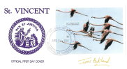 1997 ST VINCENT BIRDS OF THE WORLD M/S FDC FIRST DAY COVER - PRISTINE AND SIGNED BY ACTOR JOSS ACKLAND - Oiseaux