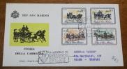 SAN MARINO 1968 FDC CARROZZE DELL'800 COMPLETE SET - FDC