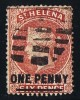 ST HELENA  Victoria  Overprinted Stamp   1 D. Perf 14   Pale Red  Short Bar.   Wmk CA Reversed    SG 38x  Used - Saint Helena Island