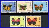 PERU 1990 BUTTERFLIES  SC# 978-982 VF MNH SCARCE - Peru