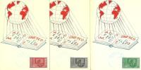 France: 36 / 38 Sur 3 Cartes  MAXI- 1er Jour  UNESCO Oblitération Paris - Lettres & Documents