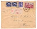 Recommandé Lille Hasnon Nord Paire Cérès 1F75  Mercure Pau YT # 449 - Lettres & Documents