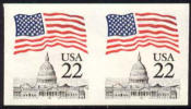 US #2115e Mint Never Hinged 22c Flag Over Capitol Imperf Pair From 1985 - Errors, Freaks & Oddities (EFOs)