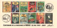 FRANCE 2007 Essai B Albums Fictifs + 2 Cachets Premier Jour FDC TINTIN KUIFJE TIM HERGE GUEBWILLER - Comics