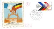 FRANCE:1973:N�1739 FDC soie:Xe anniv. du trait� sur la coop�ration franco-allemande.22/01/19 73.
