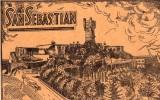 San Sebastian (espagne) Croquis Sur Carton Taille D´une Cpa, à L´arrière, Plan (plano) De La Ville (2.27) - Fiches Illustrées