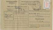 Tarjeta Ravitaillement  CALLAC (Cotes Du Nord) 1946. Timbre Service 15A. Abastecimiento - Lettres & Documents
