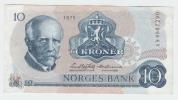 Norway 10 Kroner 1975 VF++ Banknote P 36b 36 B - Norway
