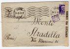 Lettera Da Udine Per Stradella Con Fascetta E Bolli Vari Di Censura. Annullo Meccanico Ad Onde Continuo. 24/02/1943 - Storia Postale