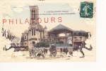 CHATELLERAULT  /PLACE DE LA REPUBLIQUE - EGLISE ST-JEAN-L'EVANGELISTE (carte Gauffrée)  1909 - Chatellerault